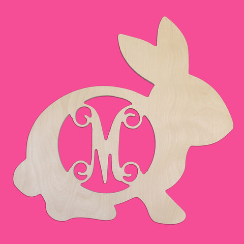 Personalized Wooden Easter Bunny Rabbit Monogram Initial for Wall or Door