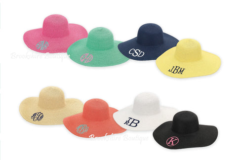 Personalized Monogrammed Floppy Beach Sun Hat: 8 Color Choices!
