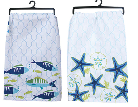 Flour Sack Tea Towel: Saltwater Fish or Starfish