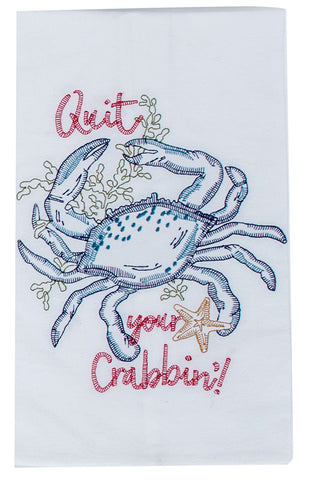 Embroidered Flour Sack Towel: Crab or Sea Turtle