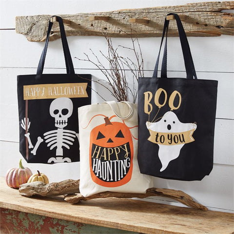 Mud Pie Halloween Canvas Totes