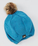Mud Pie Cable Knit Beret Hat w Faux Fur Pom Pom www.brookshireboutique.com