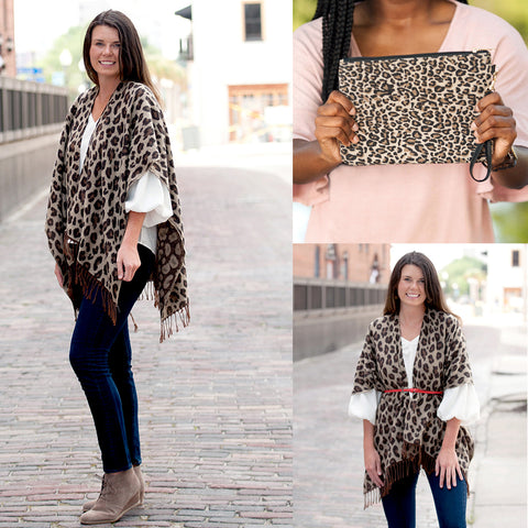 Personalized Leopard Pattern Shawl or Matching Wristlet