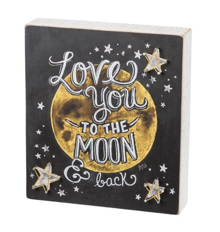 Primitives by Kathy Love You to the Moon String Art Stars Box Sign
