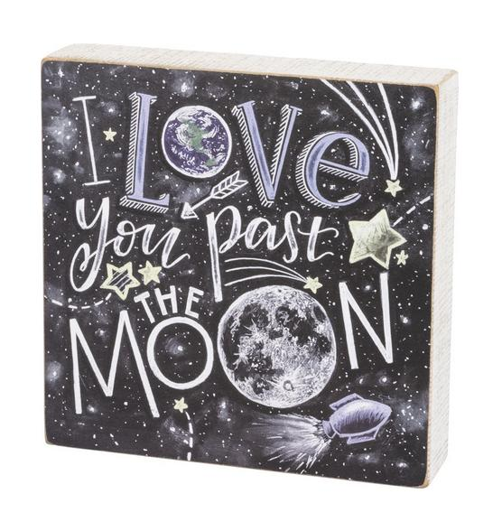 Primitives by Kathy Love You Past the Moon Box Sign www.brookshireboutique.com