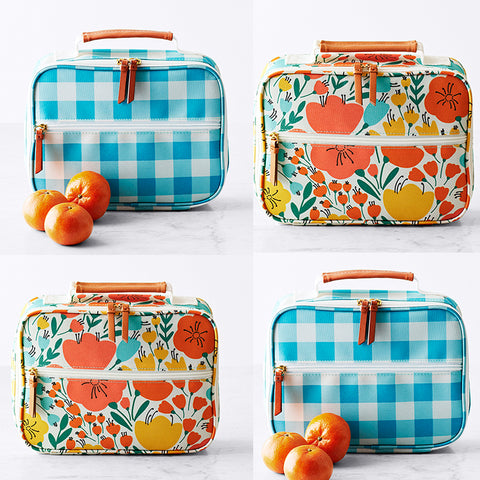 Insulated Lunch Tote: Poppies or Gingham