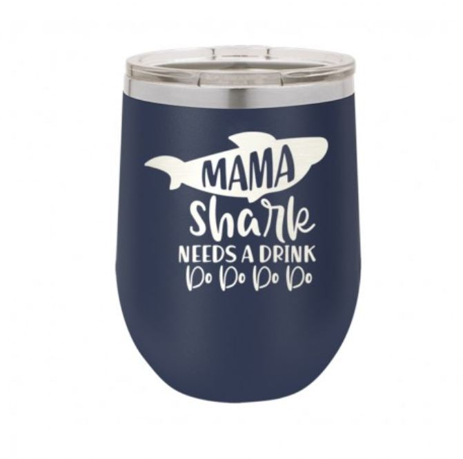Viv & Lou Mama Shark Need a Drink Insulated Tumbler w lid Brookshire Boutique www.brookshireboutique.com