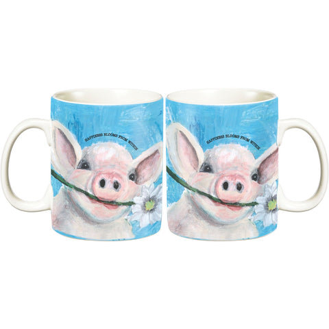 Friendship Heart Gallery Happiness Blooms from Within Pig Mug