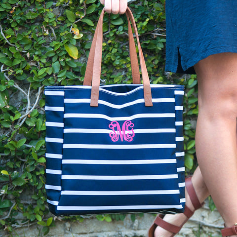 Personalized Mint, Black, Navy or Pink Striped Tote Bag