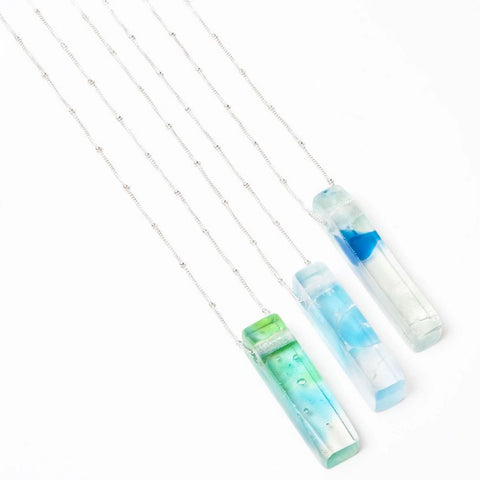 Smart Glass Recycled Jewelry Mosaic Stiletto Necklace