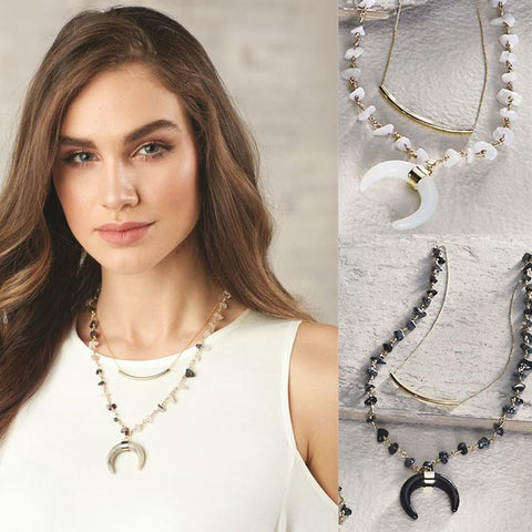 Crescent Moon & Bar Layered Necklace
