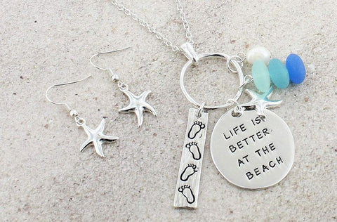Life is Better at the Beach Necklace & Earring Set