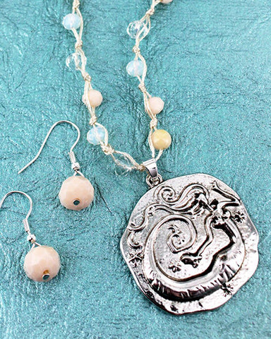 Mermaid Pendant on Natural Cord Necklace & Earring Set