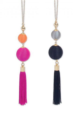 "24"" Periwinkle Pink or Black Tassel Necklace"