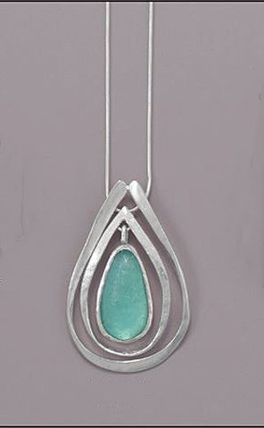 "18"" Ancient Israel Roman Glass & Sterling Silver Necklace w Pear Drop Design"