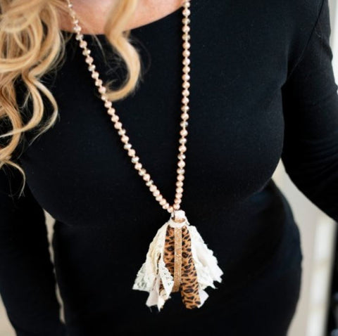 Sparkly Leopard Print Fabric Tassel Necklace