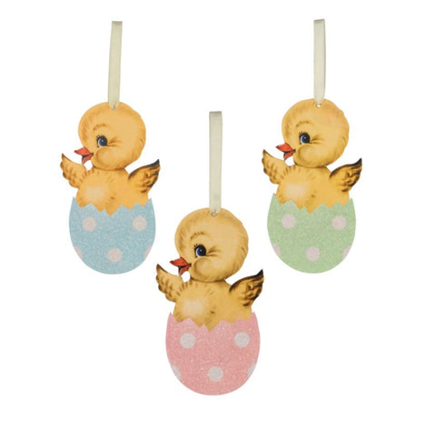 Chicks in Easter Egg Ornaments, Set of 3