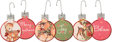Vintage Style Reindeer Fawn Christmas Ornaments: Set of 3