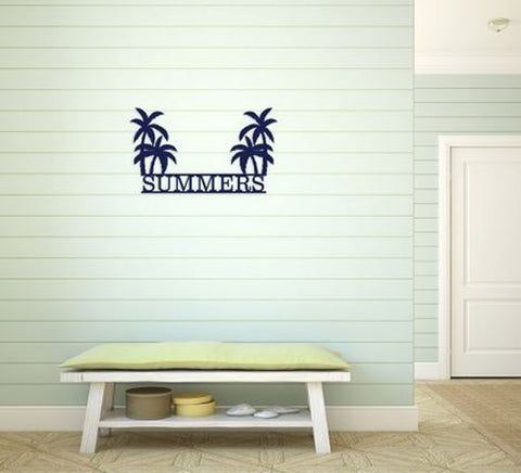 Wooden Palm Trees Family Name Door Hanging