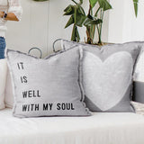 "26"" euro pillow faithworks Brookshire Boutique www.brookshireboutique.com it is well with my soul and heart icon"