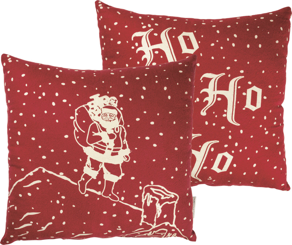 2 Sided Santa on Rooftop Christmas Pillow: Ho Ho Ho Primitives by Kathy Brookshire Boutique www.brookshireboutique.com