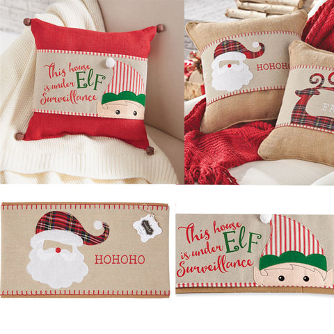Mud Pie Christmas Linen Pillow Wrap: Santa or Elf Suveillance