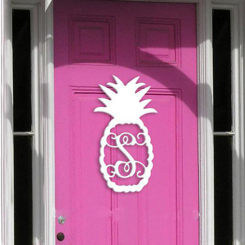 Personalized Wooden Pineapple Monogram Initial for Wall or Door
