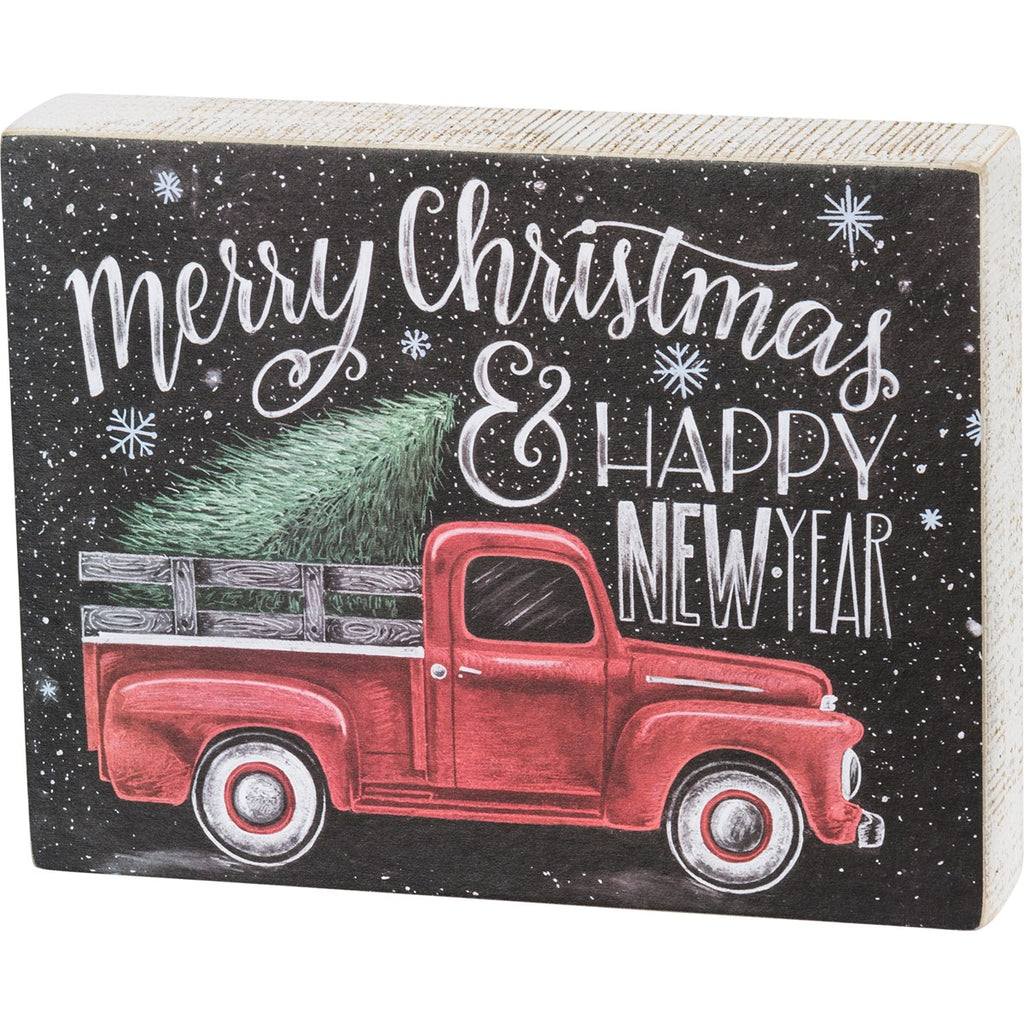 Merry Christmas & Happy New Year Red Truck Box Sign Brookshire Boutique www.brookshireboutique.com
