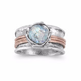 14K Rose Gold Plate & Sterling Silver Ancient Roman Glass Spin Ring