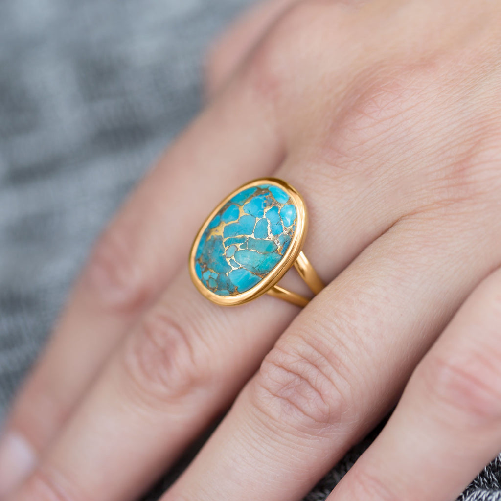 14K Gold Plated Sterling Silver Stabilized Turquoise & Copper Infused Ring