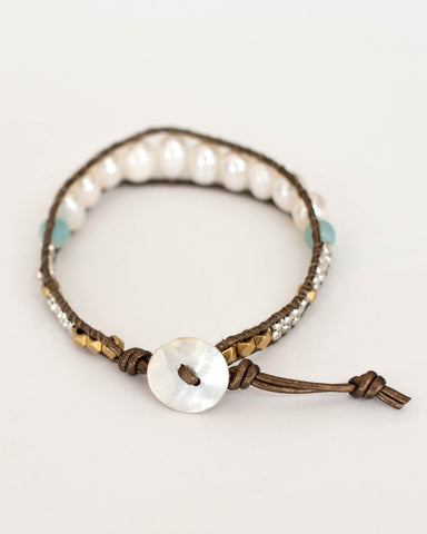 River Bracelet: Pearls, Leather & Amazonite