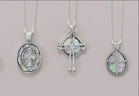 Ancient Israel Roman Glass & Sterling Silver Cross Necklace: 3 Choices