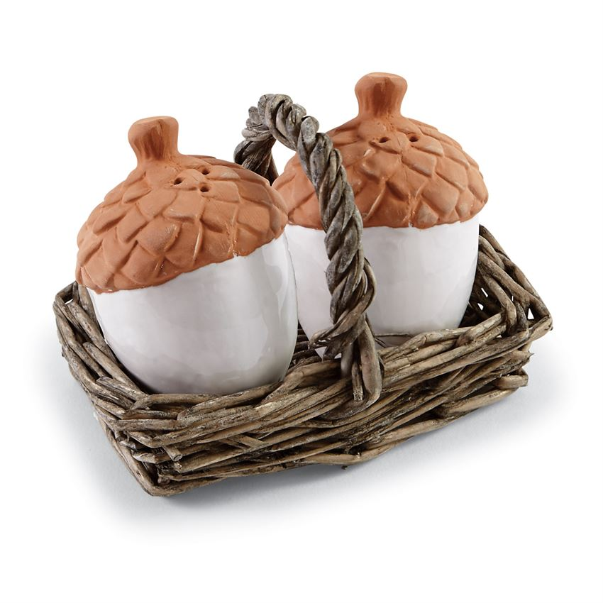 Mud Pie Acorn Salt & Pepper Set in Willow Basket brookshireboutique.com Brookshire Boutique