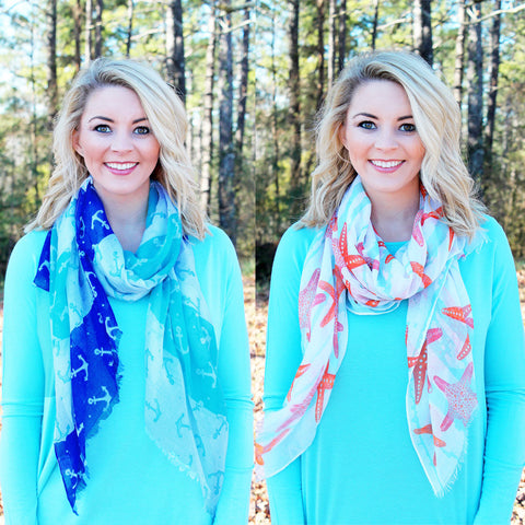 Coastal Scarf: Anchors or Starfish