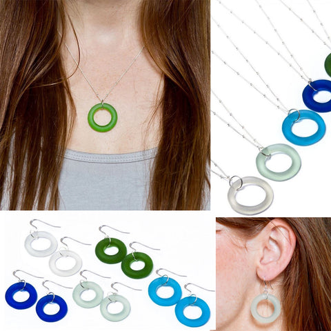 Smart Glass Recycled Jewelry Seaglass Style Circle Earrings or Necklace