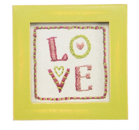 Primitives by Kathy framed LOVE Stitchery Art