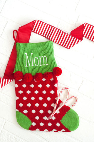 Personalized Pom Pom Polka Dots or Striped Christmas Stockings