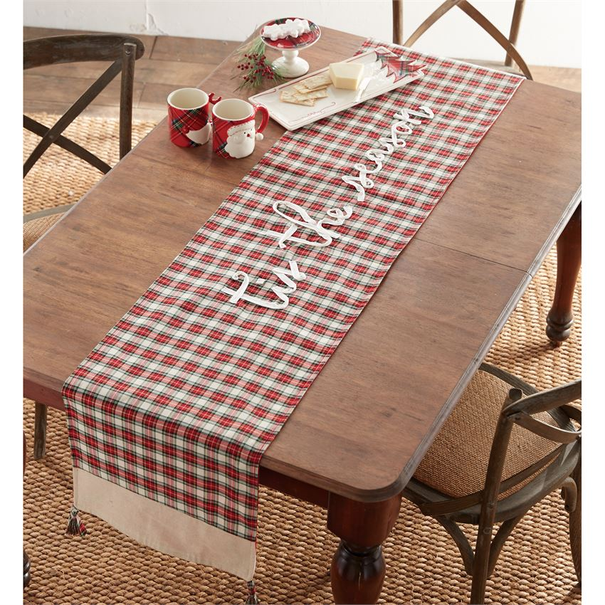 Mud Pie Red or White Tartan Plaid Table Runner brookshireboutique.com