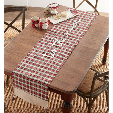 Mud Pie Red or White Tartan Plaid Christmas Table Runner