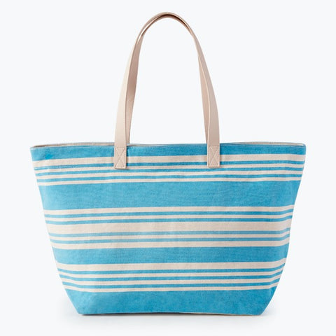 Striped Canvas Zip Top Tote