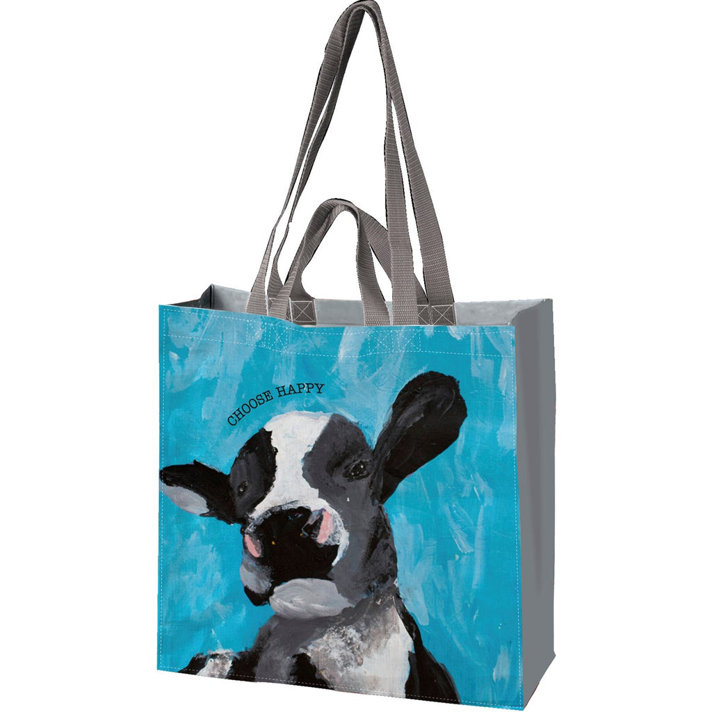 Choose Happy Cow Reusable Market Tote: Friendship Heart Gallery Primitives by Kathy Brookshire Boutique www.brookshireboutique.com
