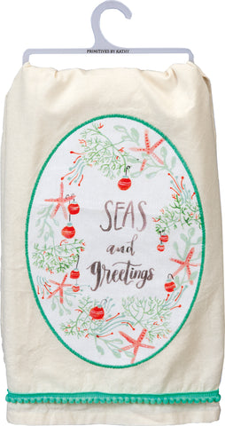 Seas and Greetings Coastal Christmas Tea Towel