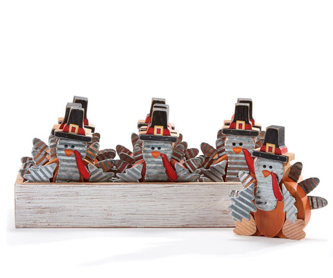 "4.75"" Rustic Tin & Wooden Pilgrim Turkey"