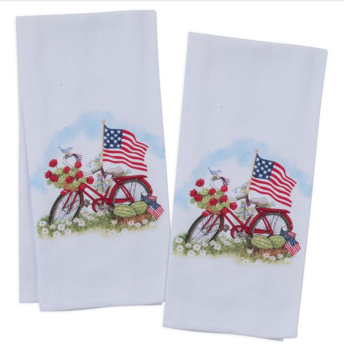 USA American Flag Bike Tea Towel Brookshire Boutique www.brookshireboutique.com Kay Dee
