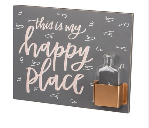 This is My Happy Place Wall Sign & Vase