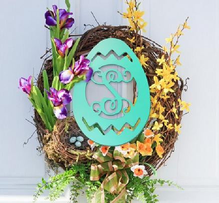 "18"" Wooden Initial Monogram Easter Egg Door Hanger or Wall Decor"