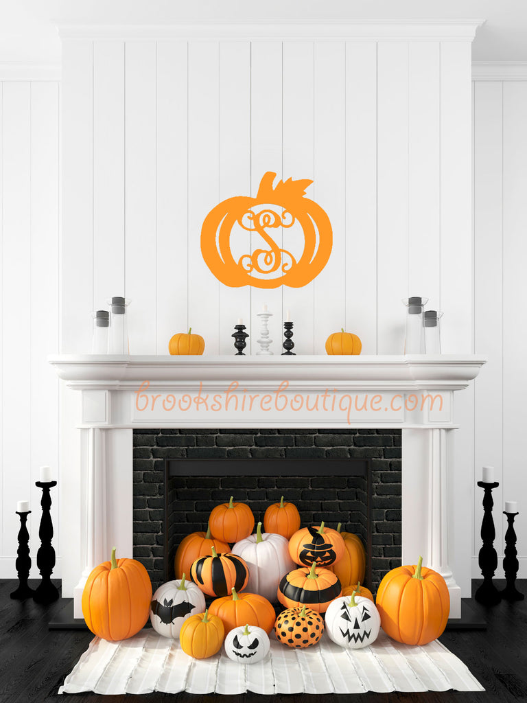 Monogram Wooden Initial Pumpkin Fall Decor Door Hanger Brookshire Boutique www.brookshireboutique.com