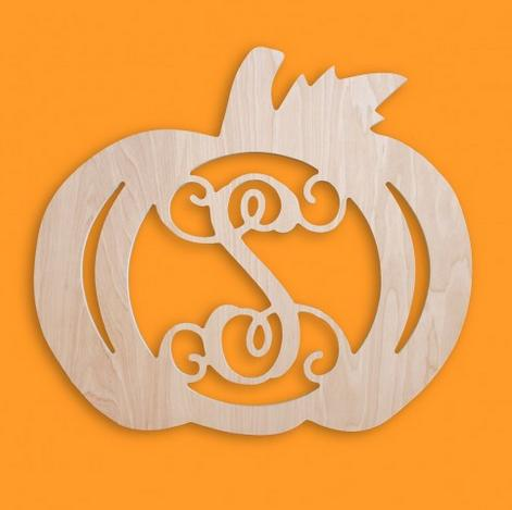 Monogram Wooden Initial Pumpkin Fall Decor Door Hanger