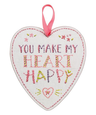 Primitives by Kathy You Make My Heart Happy Wall Hanging
