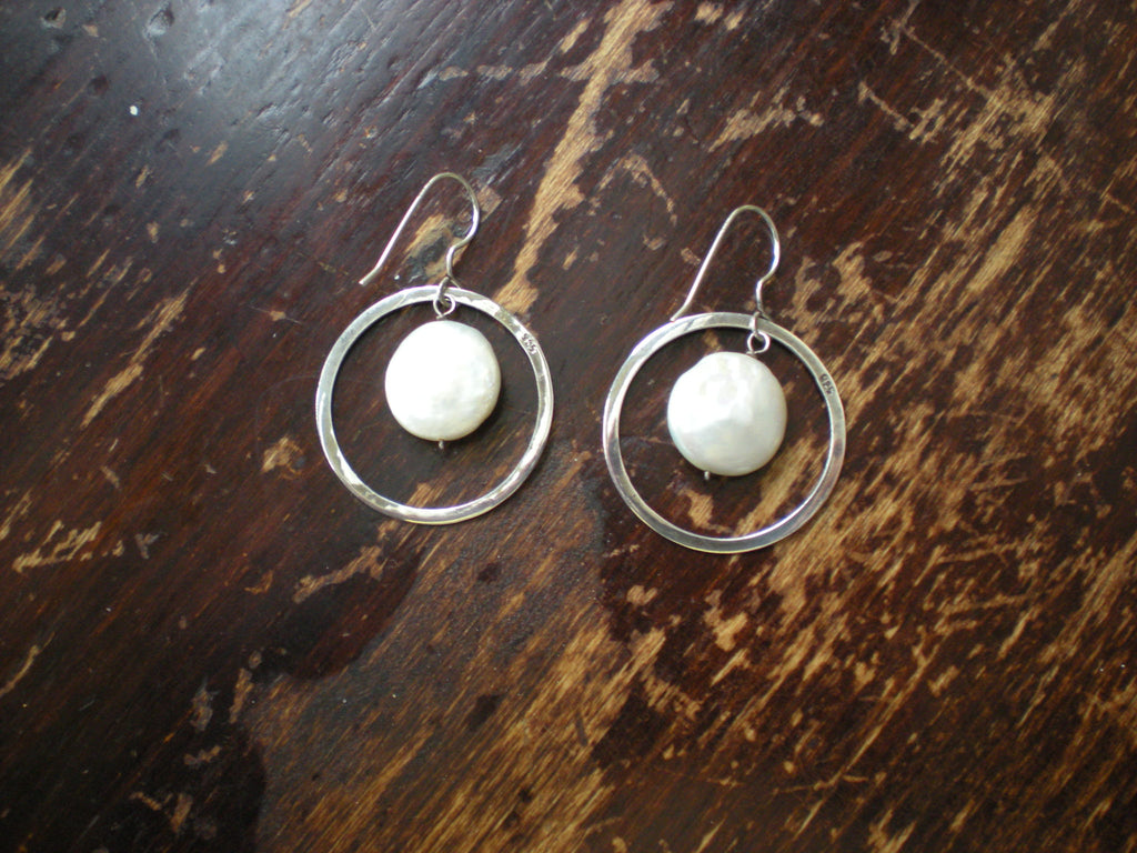 925 Sterling Silver & Coin Pearl Hoop Drop Earrings